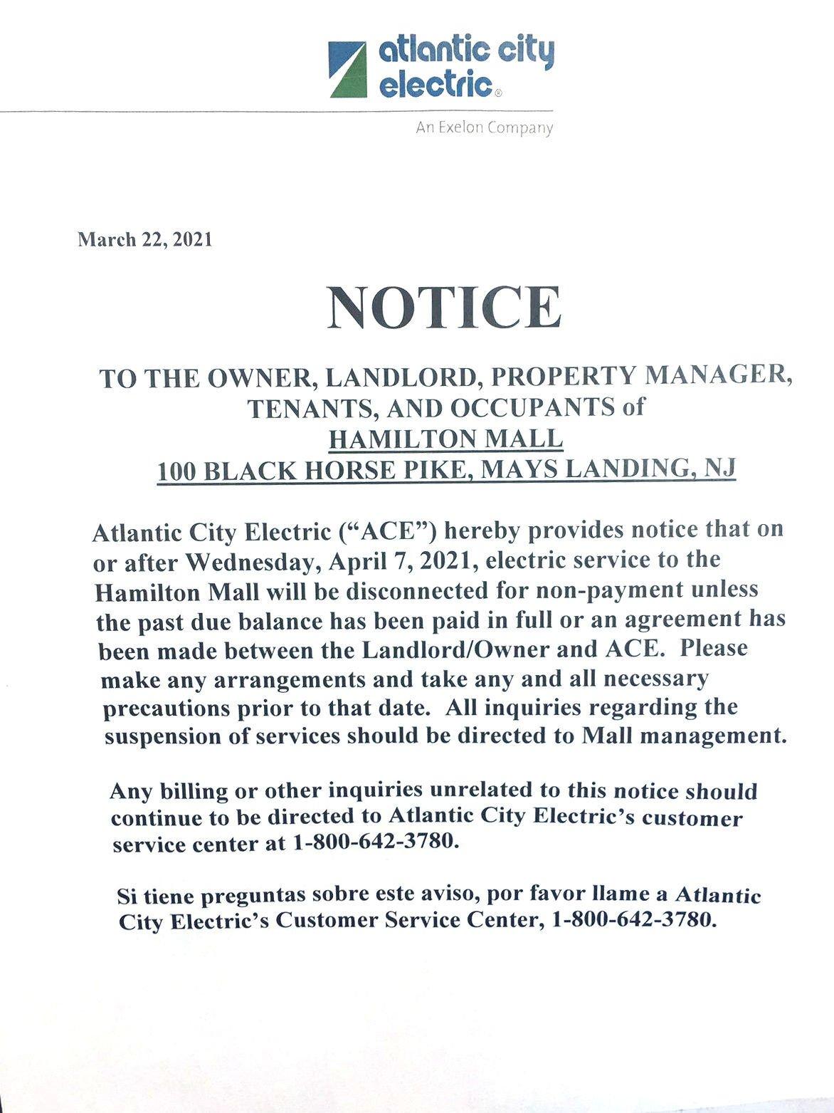 Atlantic City Electric notice at Hamilton Mall