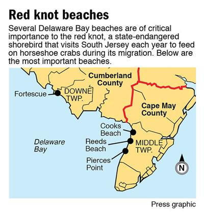 Red knot beaches map 10-2014
