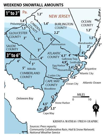 Snow amounts totals 1-15-2019 map