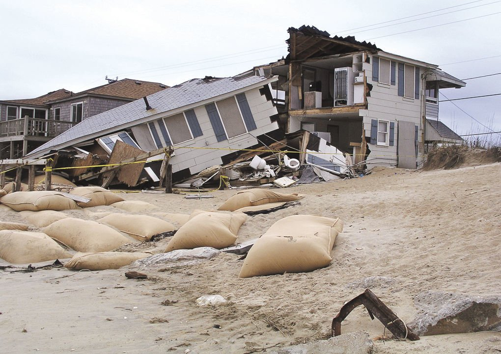Beach house hit by hurricane