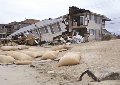 Beach house hit by hurricane