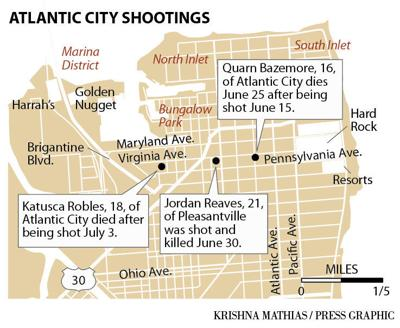 Atlantic City June July 2019 shootings map