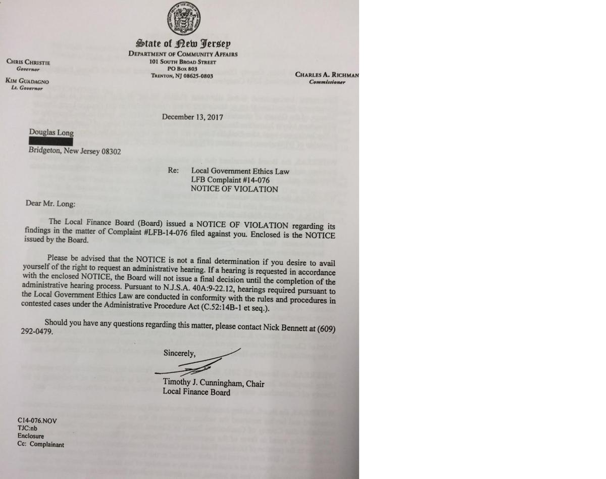 Cumberland County freeholder ethics violation