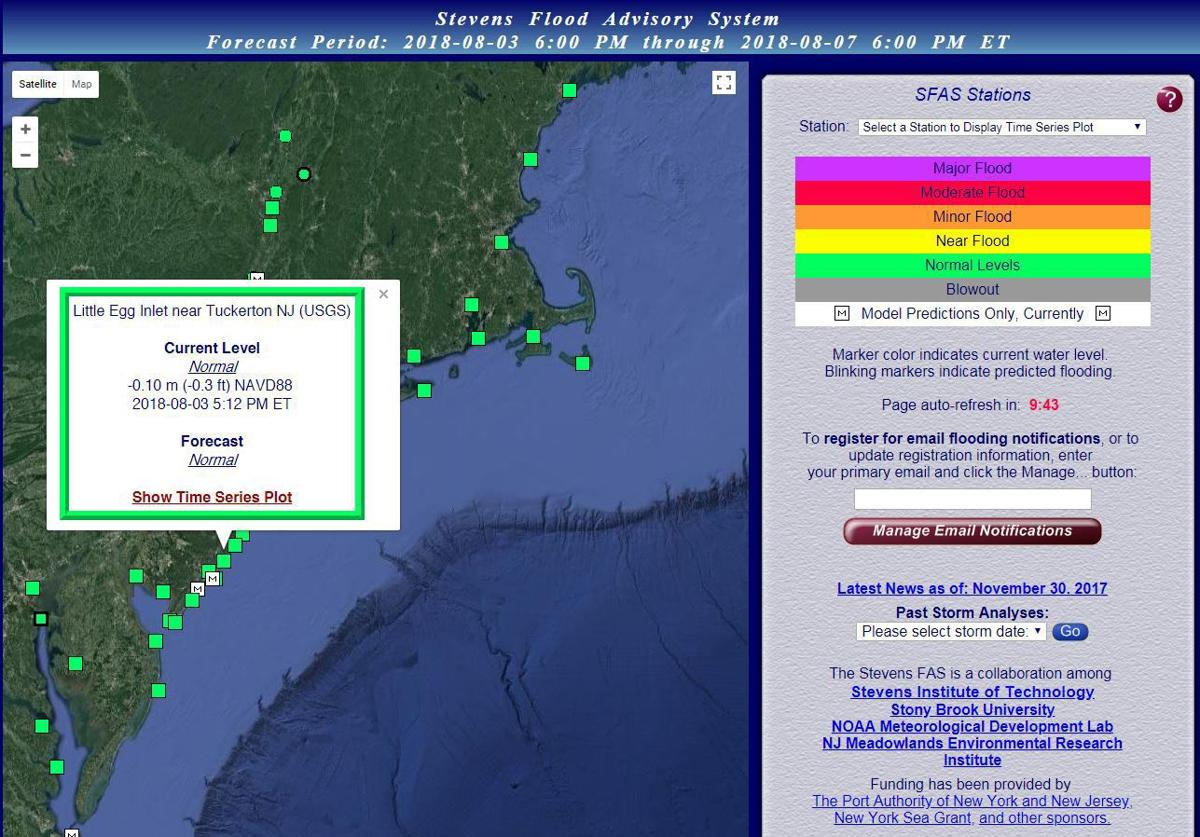 New Jersey Based Flood Advisory System Sends Free Alerts On Tides Network Storms Computing Services Under The Developed By Stevens Institute Of Technology If Square Near Your Location Is Green All Normal Its Yellow