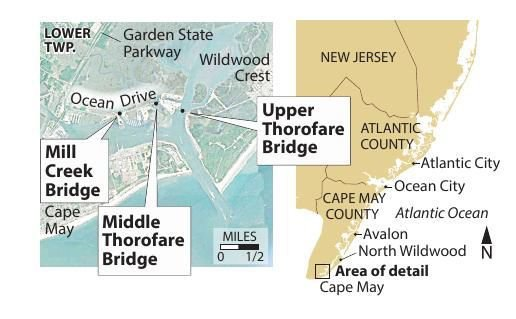 Cape May bridges Ocean Drive map