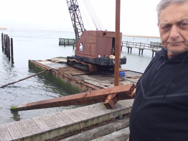Sammy Bonaccurso and sinking crane in Brigantine