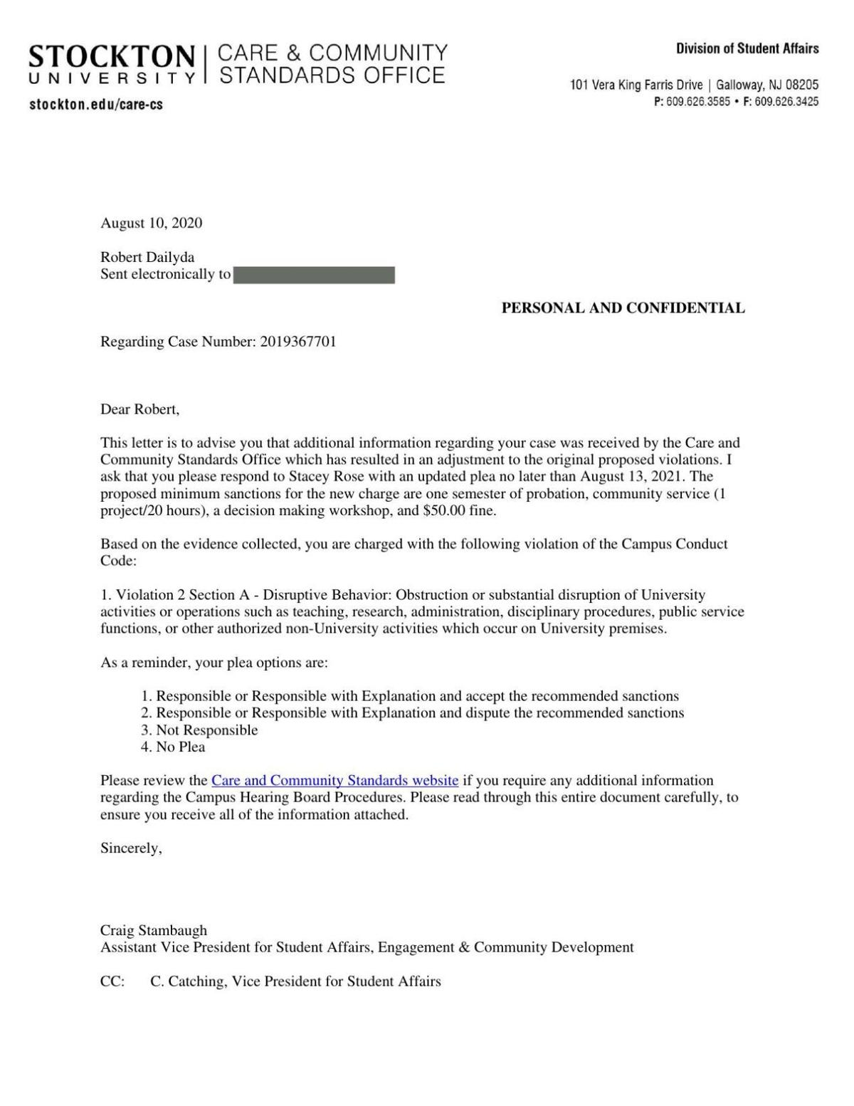 Updated charge letter against Dailyda Aug. 10, 2020