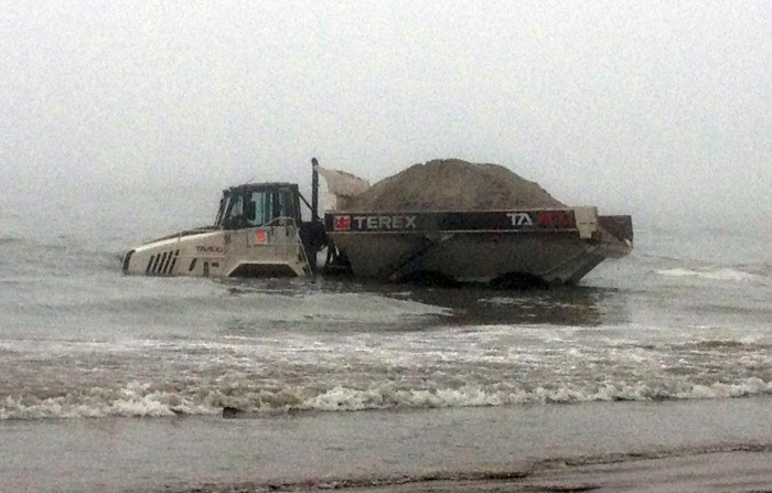 Dump truck involved with North Wildwood beach replenishment