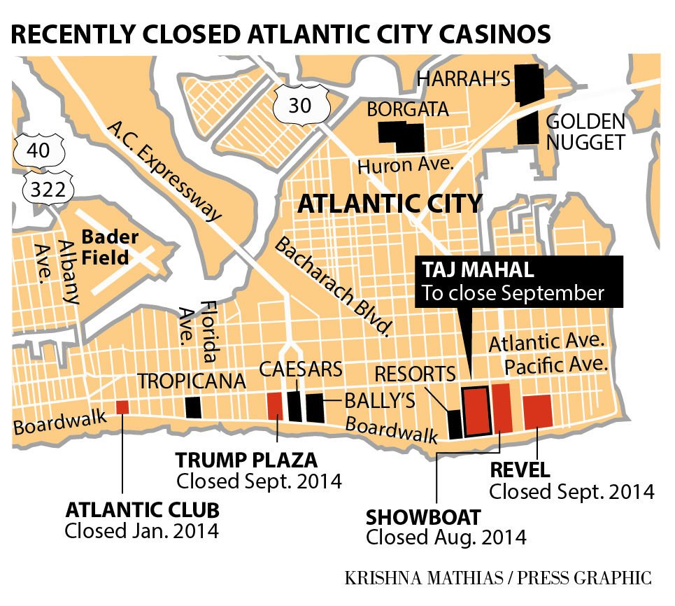 Taj to close map of casinos