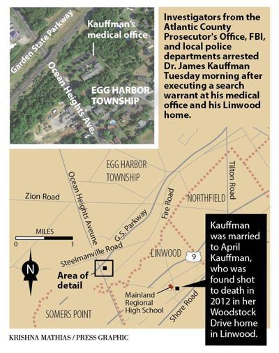 Map of Kauffman's arrest
