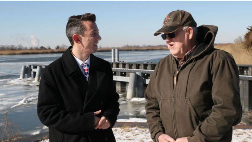 Meteorologist Joe Martucci with Mayor Randy Dickinson of Stow Creek