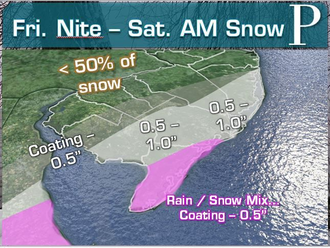 Official Snowfall Map for Friday night into Saturday morning