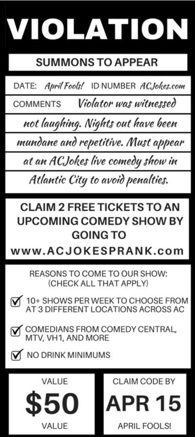 AC prank ticket