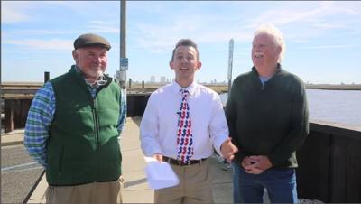 Meteorologist Joe Martucci, Mayor John Armstrong and Jim Eberwine