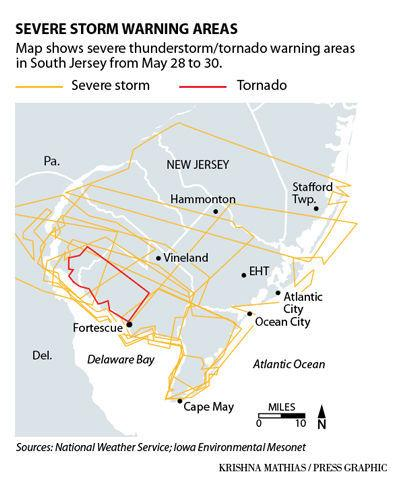South Jersey severe storm warnings map 6-2019
