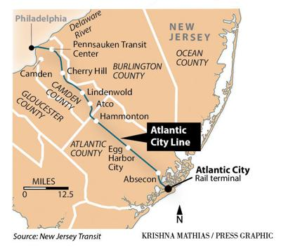 Atlantic City rail line map
