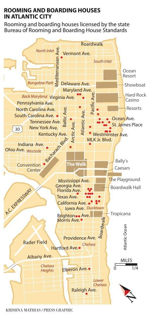 Atlantic City rooming houses 2018 map