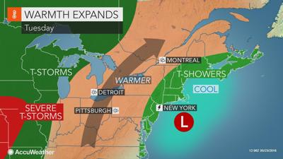 A few showers today, warmth arrives Wednesday