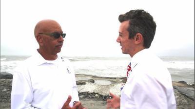Meteorologist Joe Martucci and Mayor Nicholas Russo