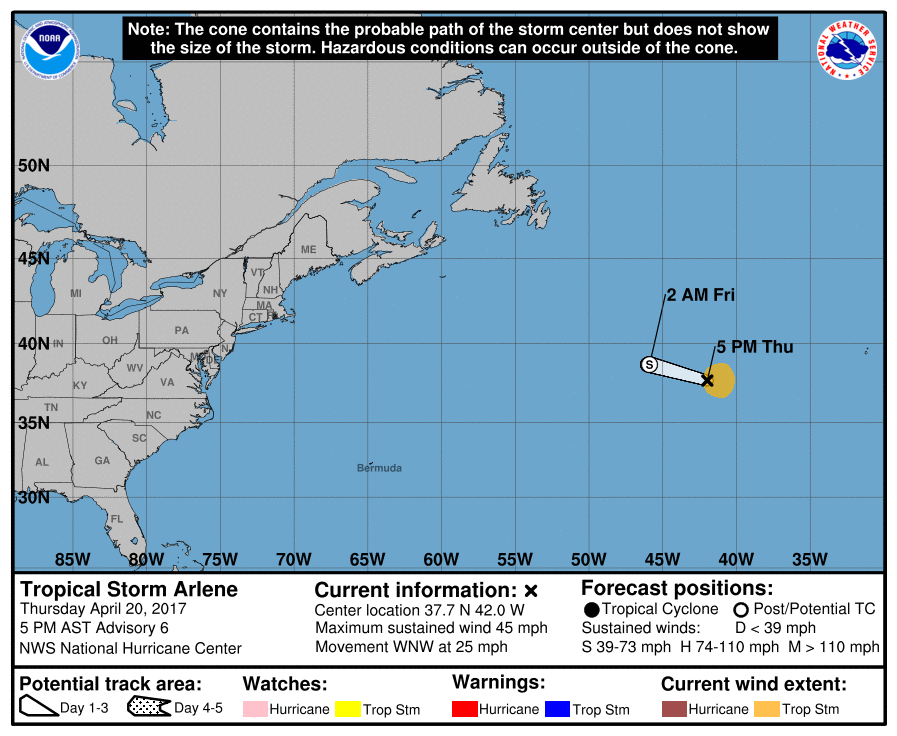 Forecast track for Tropical Storm Arlene