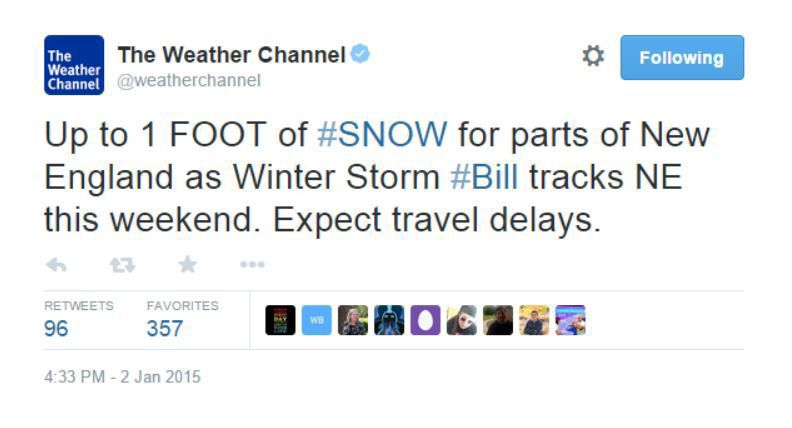 """Bill, the """"Americanized"""" Winter Storm Name"""