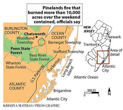 Pinelands fire April 2019 map