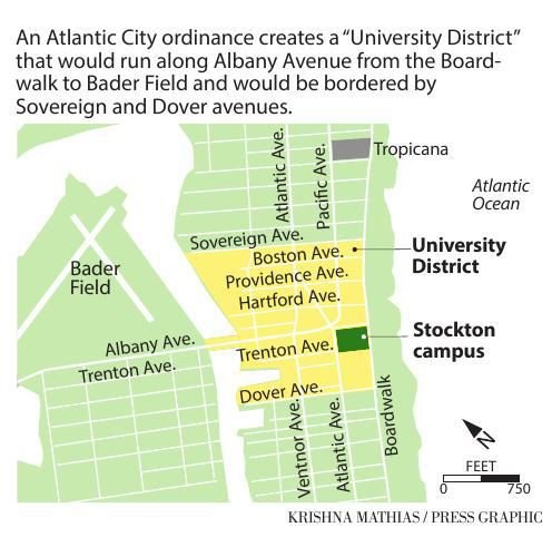 Atlantic City University District map