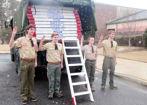 Boy Scouts build 12 ladders for county  as part of member's Eagle service project