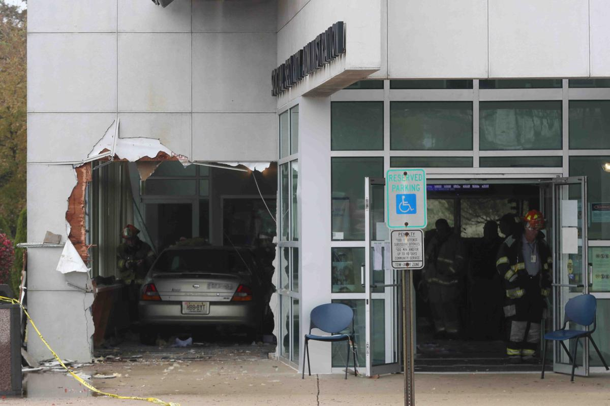 Car crash through Social Security Building