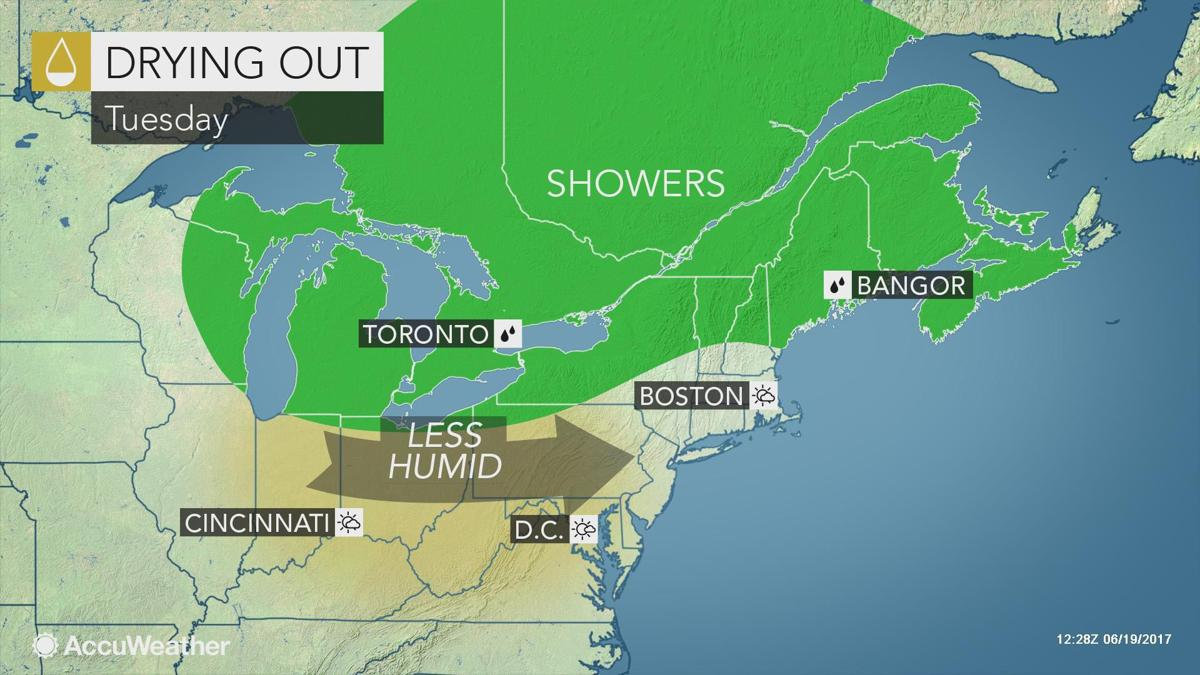 Still warm and sunny, but turning less humid on Tuesday