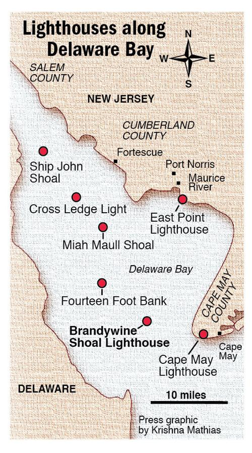Lighthouses Delaware Bay map | | pressofatlanticcity.com on