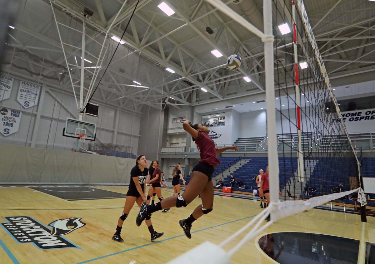 Stockton University women's volleyball practice