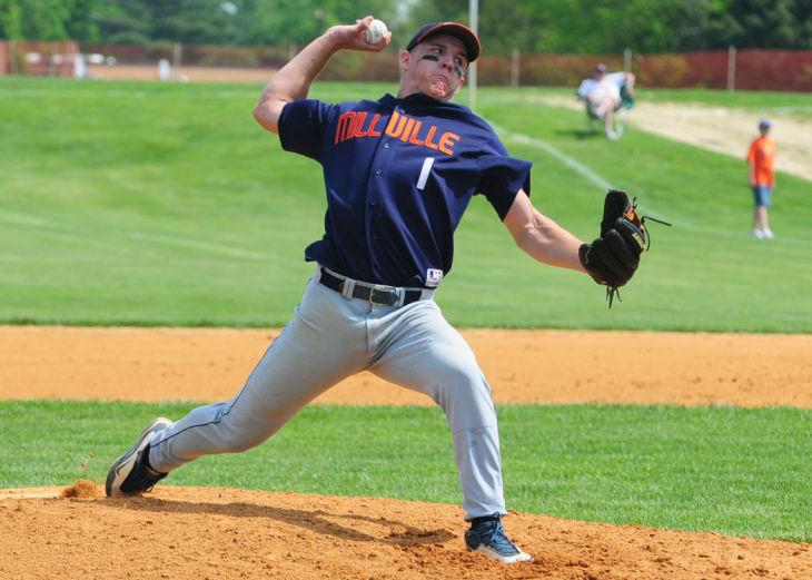 Mike Trout pitches for the Millville Thunderbolts. Photo by Dave Griffin.