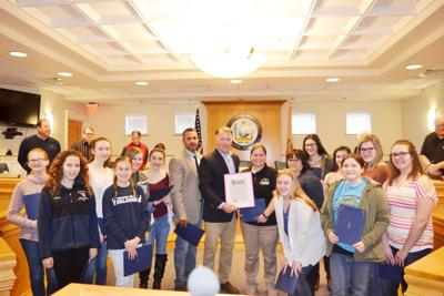Margaret Mace girls honored at council meeting