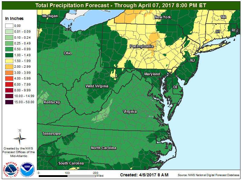1-2 inches of rain is possible on Thursday across most of New Jersey