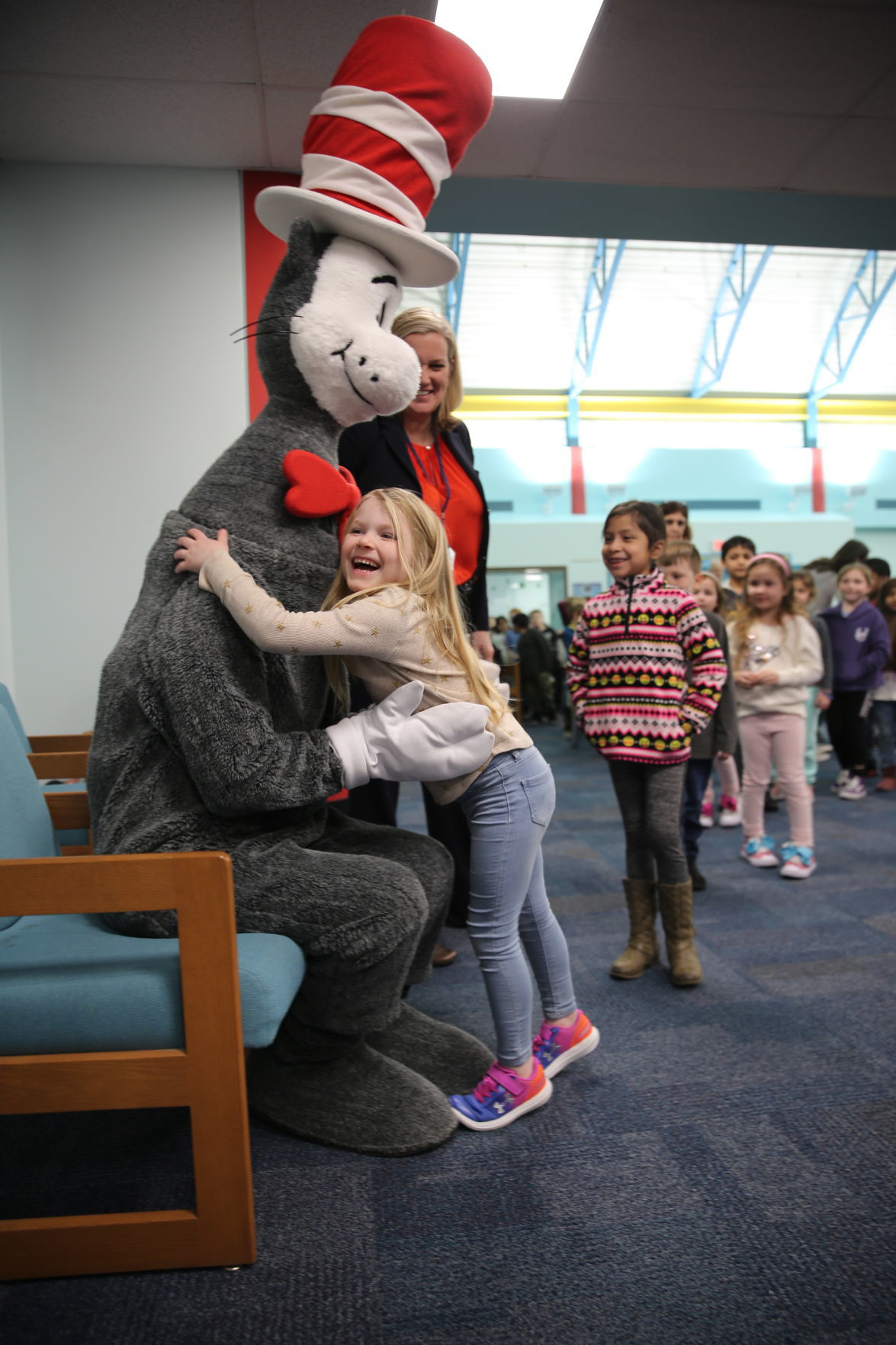 The Cat in the Hat visits Brigantine Community School as part of its Read Across America celebration Thursday, Feb. 27, 2020.