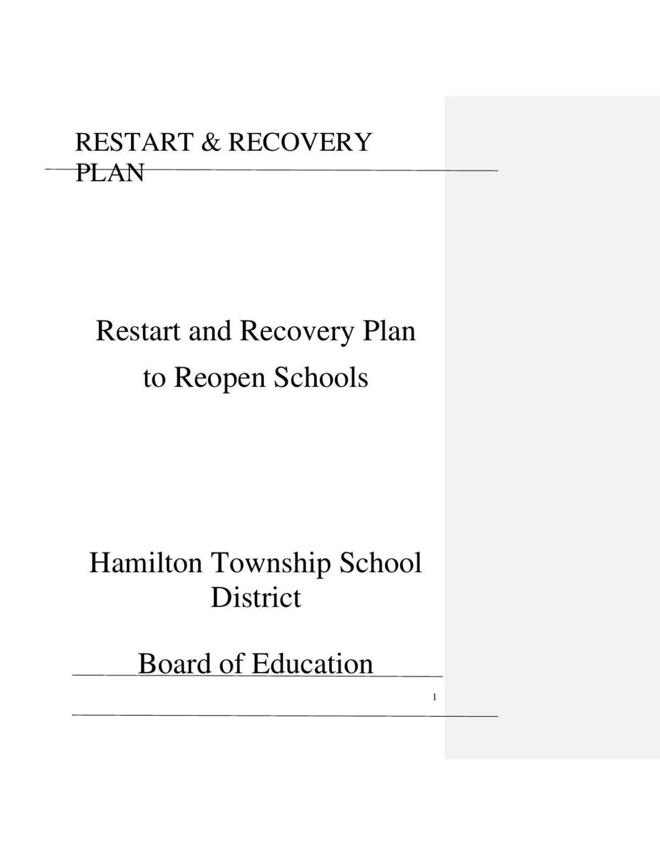 Hamilton Township reopening plan