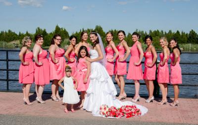 Bridesmaids wore a variety of styles at the wedding of Tom and Melissa Sedeyn.  Photo courtesy of Capturing Memories Photography by Bre Jefferis.