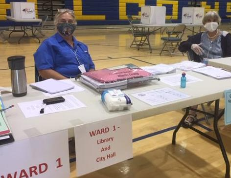 Poll workers in Linwood July 7, 2020