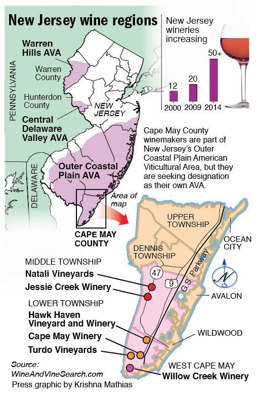 New Jersey wine regions map