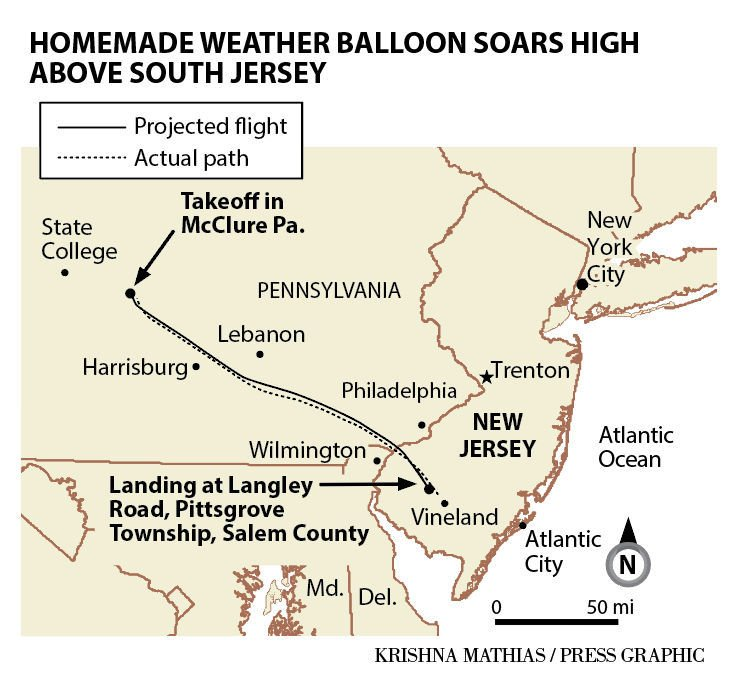 Homemade weather balloon soars high above South Jersey