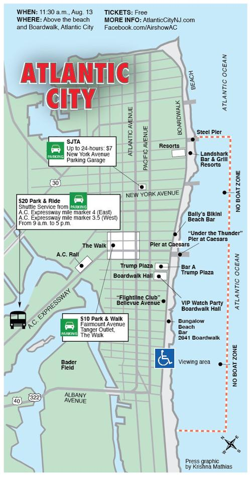 Atlantic City Map Atlantic City Airshow viewing and parking map  Atlantic City Map