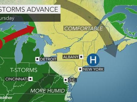 Mostly dry Thursday but then humid and unsettled next few days
