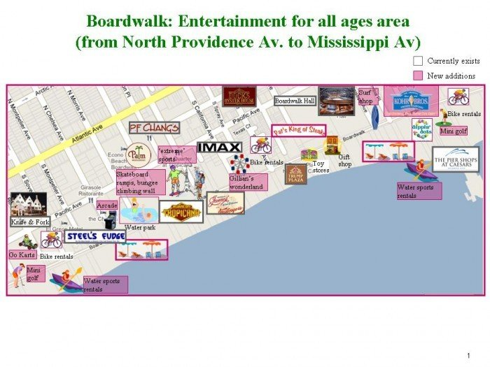 Map Of Atlantic City Casinos Map Boardwalk: Entertainment for all ages area