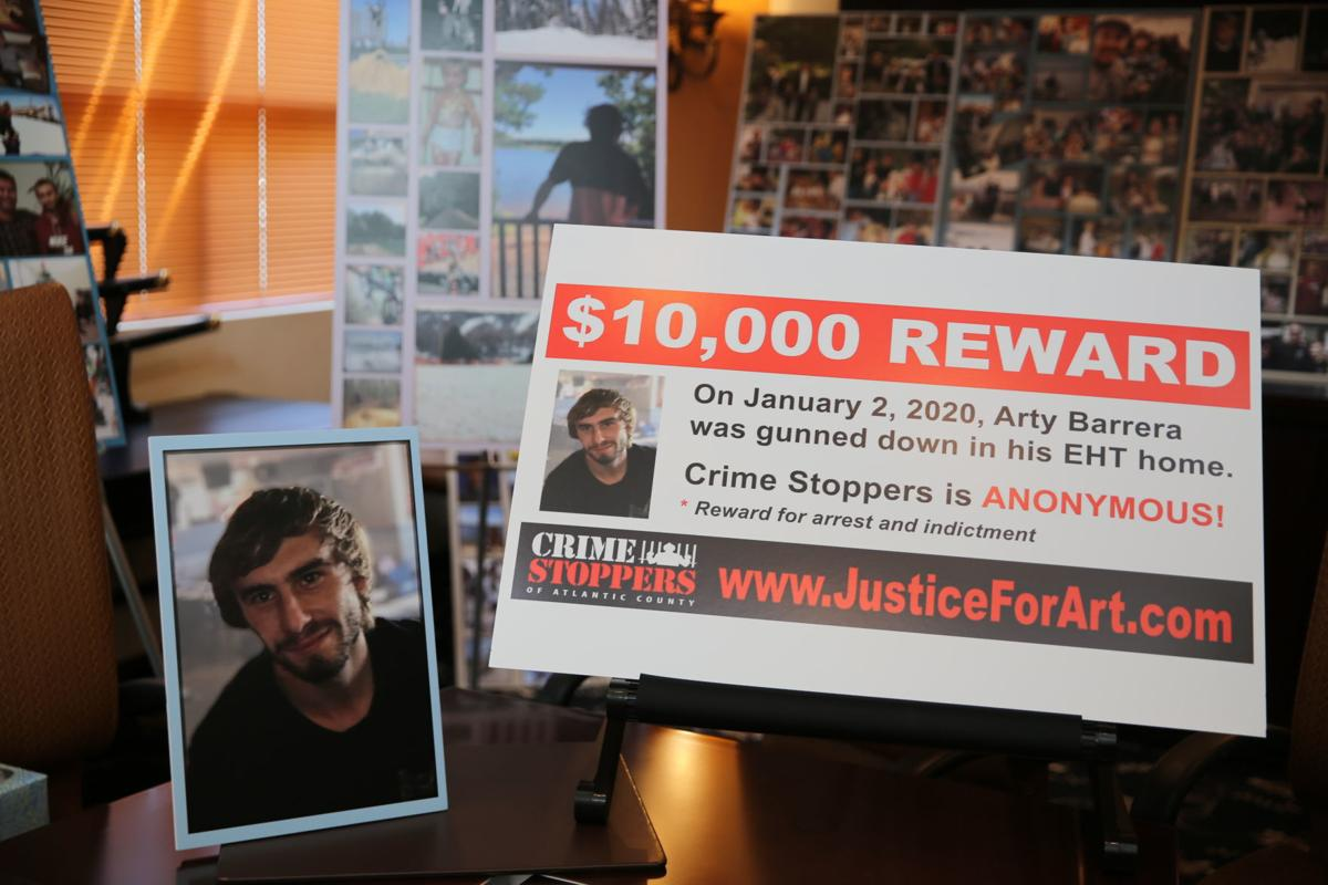 Family members of Arty Barrera III announce a $10,000 reward for information leading to an arrest and indictment in the murder of their son. Barrera was shot and killed in his Egg Harbor Township home on Jan. 2, 2020.