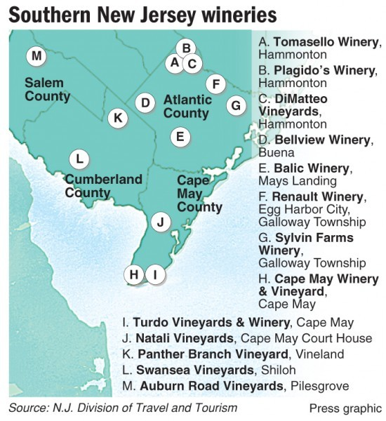 Map of southern New Jersey wineries