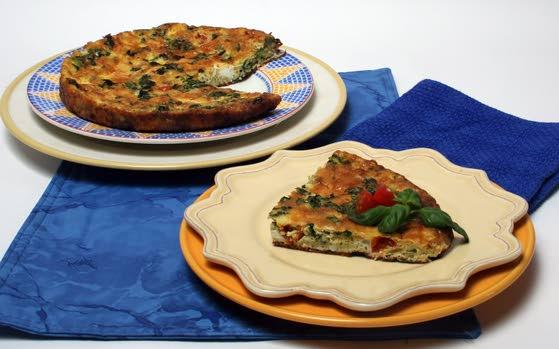 Kale frittata with tomato and basil takes advantage of seasonal produce