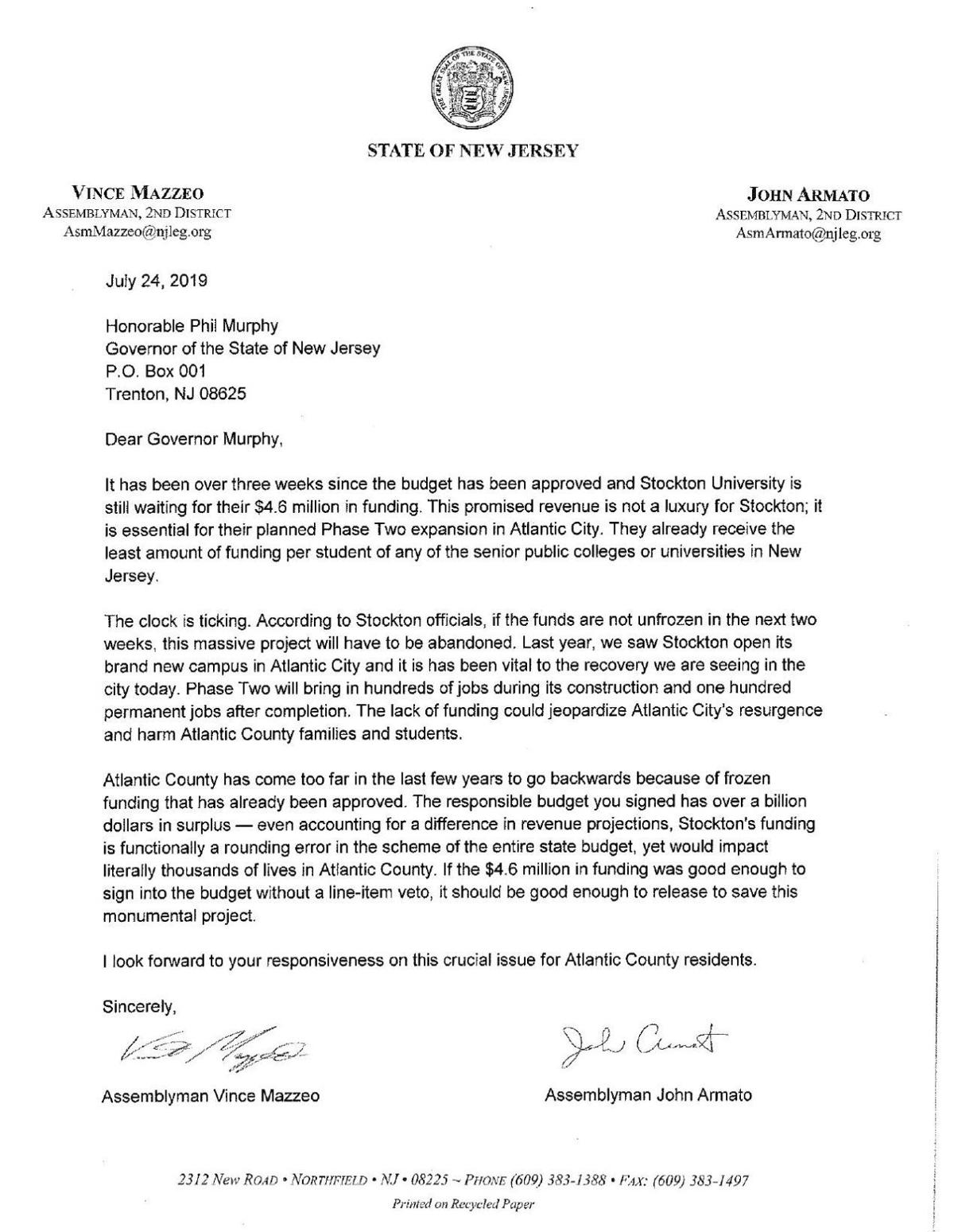 Mazzeo Armato letter to governor