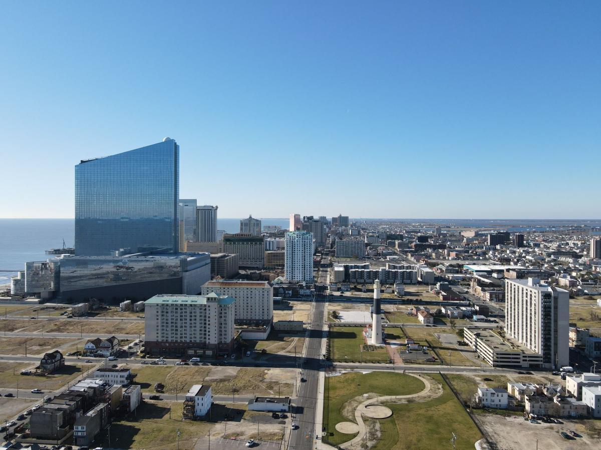Sunny Atlantic City Winter Drone