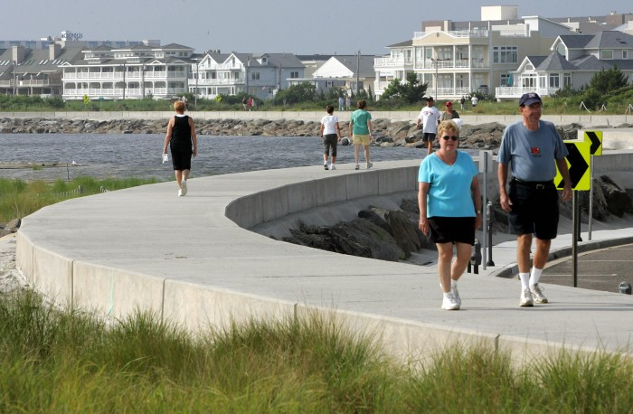 North Wildwood seawall doubles as popular walking trail